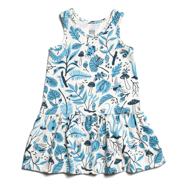 Valencia Dress - Leaves & Bugs Blue