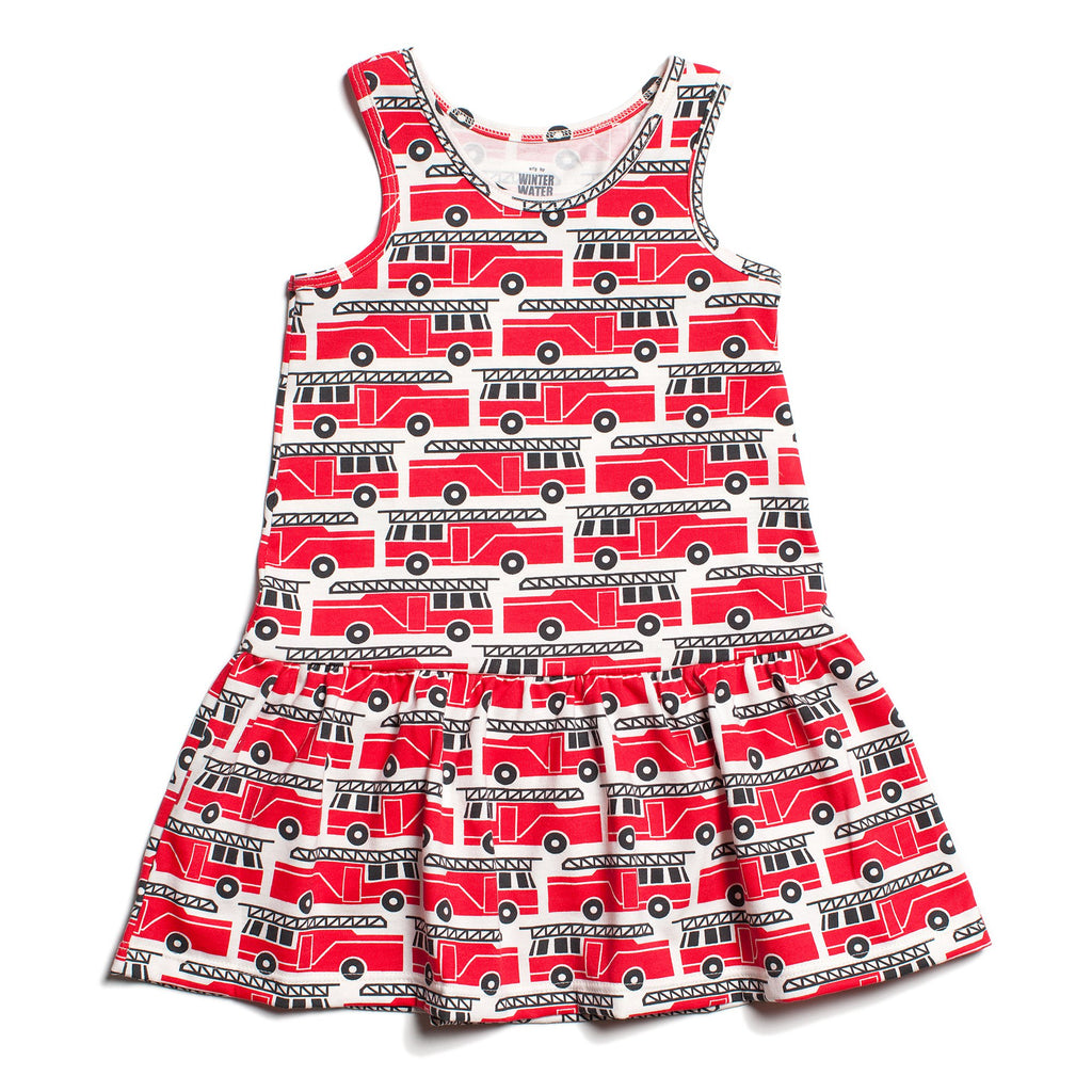 Valencia Dress - Firetrucks Red