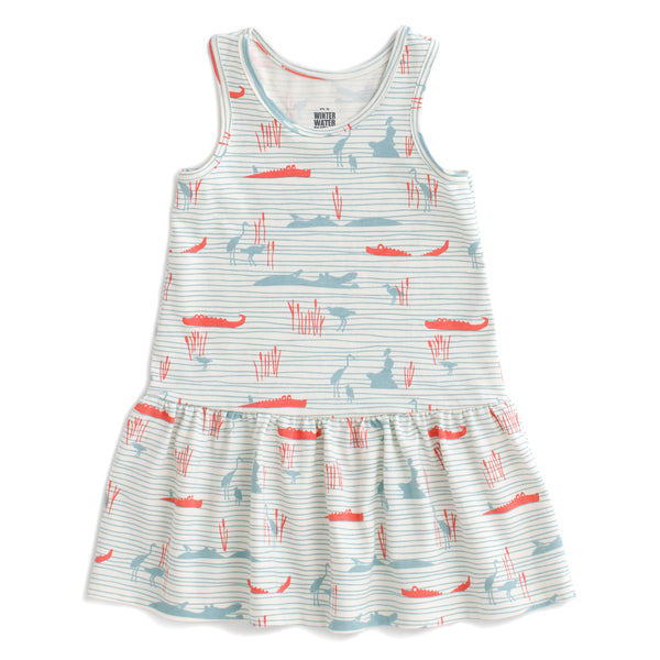 Valencia Dress - Hippos & Crocodiles Ocean Blue & Coral