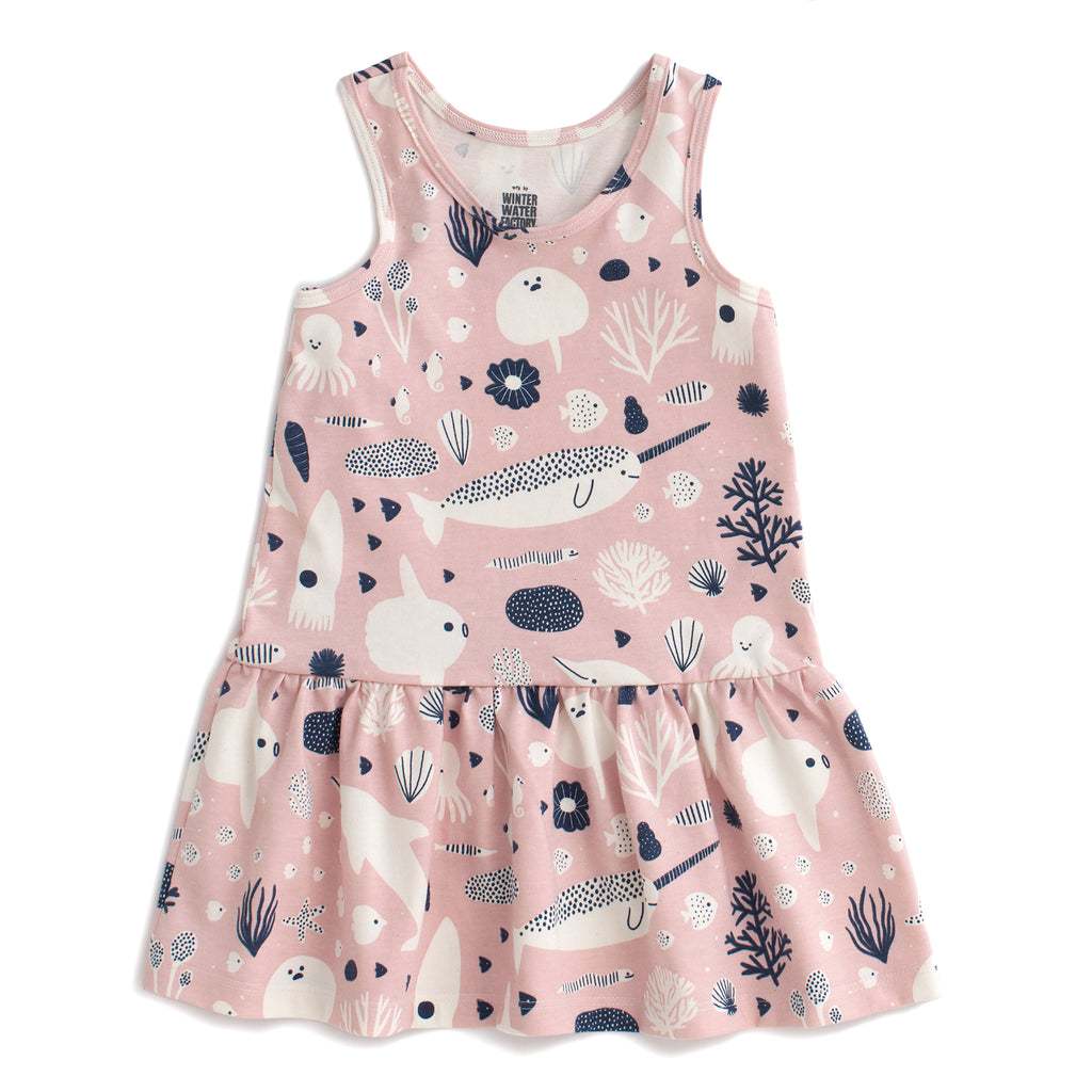 Valencia Dress - Sea Creatures Blush Pink & Navy