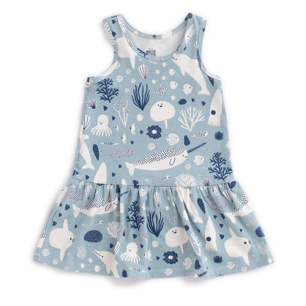Valencia Dress - Sea Creatures Pale Blue & Navy