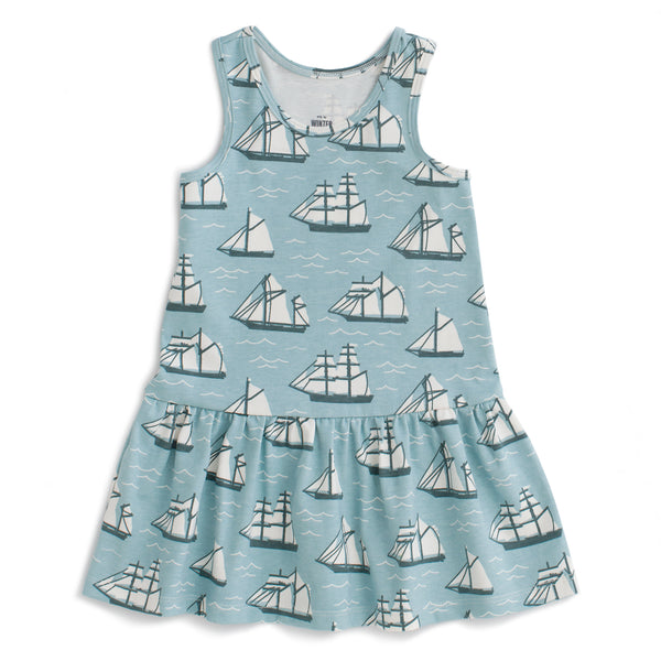 Valencia Dress - Vintage Sailboats Ocean Blue & Teal