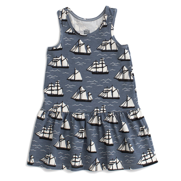 Valencia Dress - Vintage Sailboats Slate Blue & Black