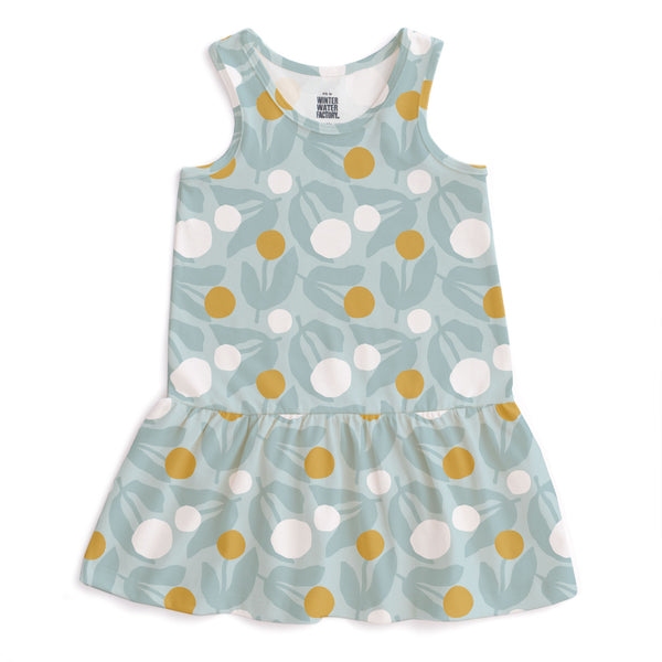 Valencia Dress - Dahlias Pale Blue