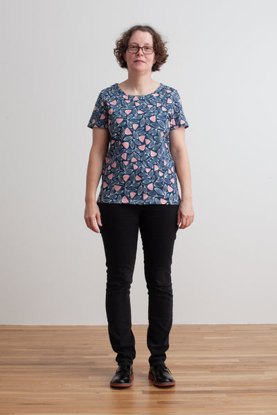 Women's Bristol Tee - Holland Floral Midnight Blue & Dusty Pink