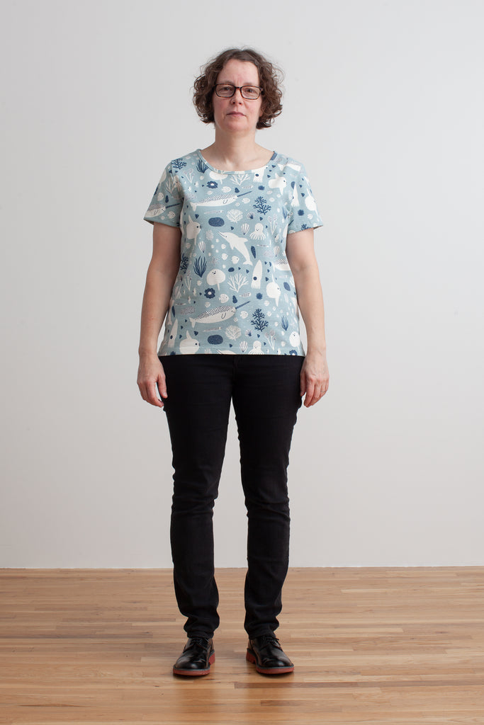 Women's Bristol Tee - Sea Creatures Pale Blue & Navy