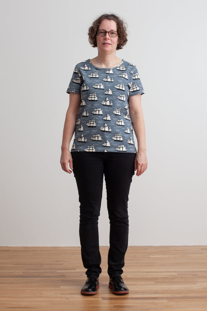 Women's Bristol Tee - Vintage Sailboats Slate Blue & Black