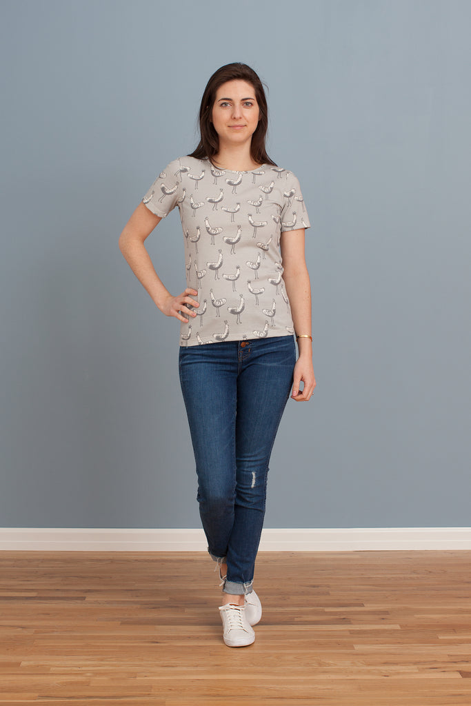 Women's Glasgow Top - Bird Parade Grey