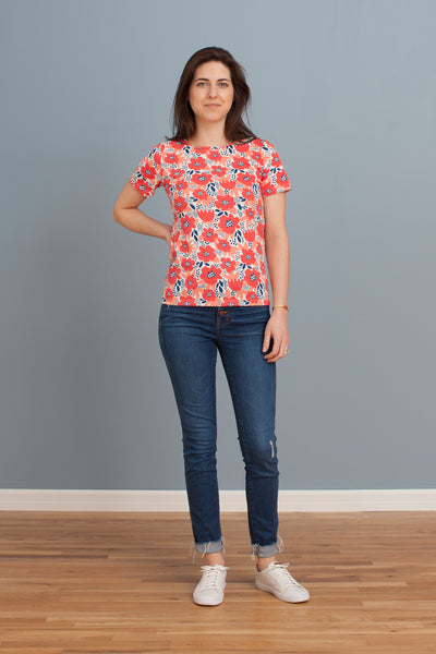 Women's Glasgow Top - Flower Garden Coral