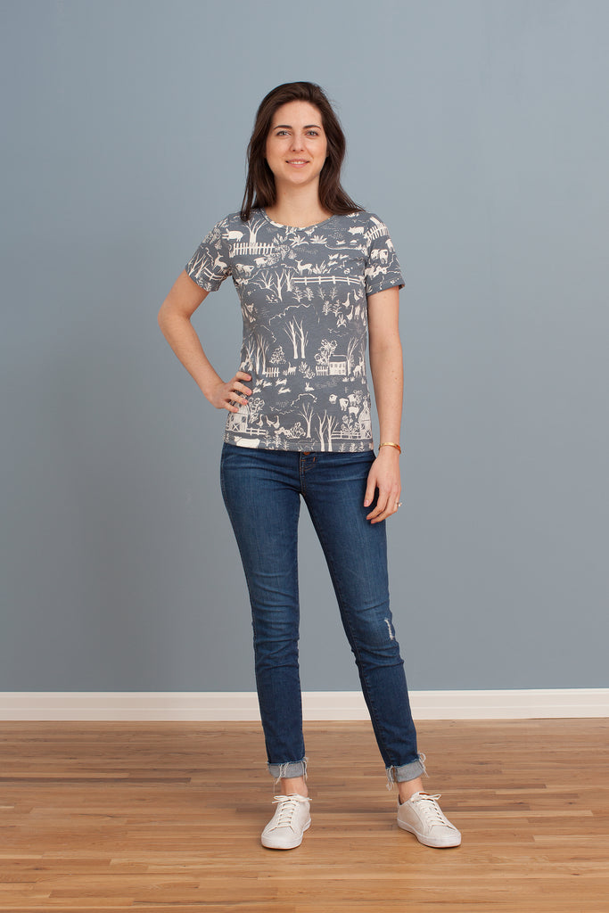 Women's Glasgow Top - The Farm Next Door Slate Blue