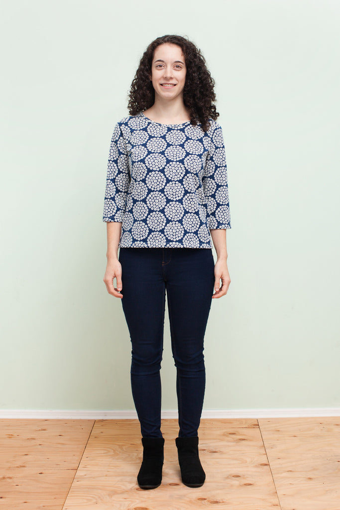 Women's London Top - Flower Dots Navy
