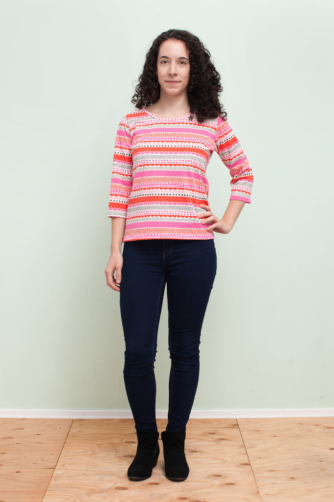 Women's London Top - Geo Stripes Pink