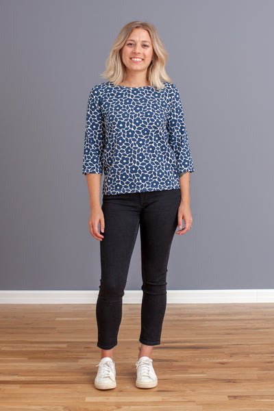 Women's London Top - Marrakesh Floral Midnight Blue