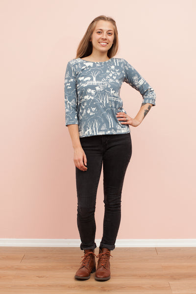 Women's London Top - The Farm Next Door Slate Blue