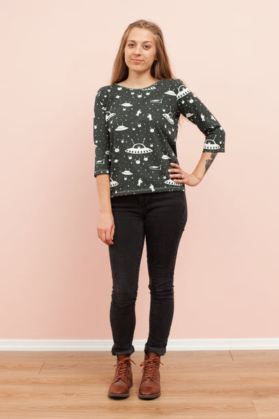 Women's London Top -Outer Space Charcoal