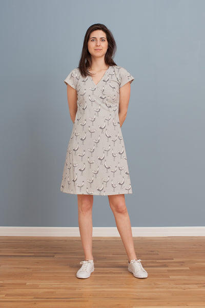 Women's Wrap Dress - Bird Parade Grey
