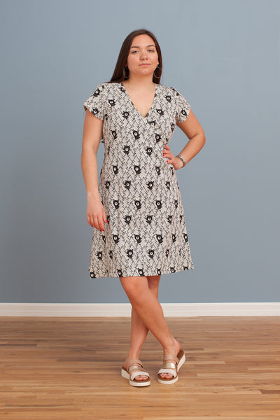 Women's Wrap Dress - Bears Black