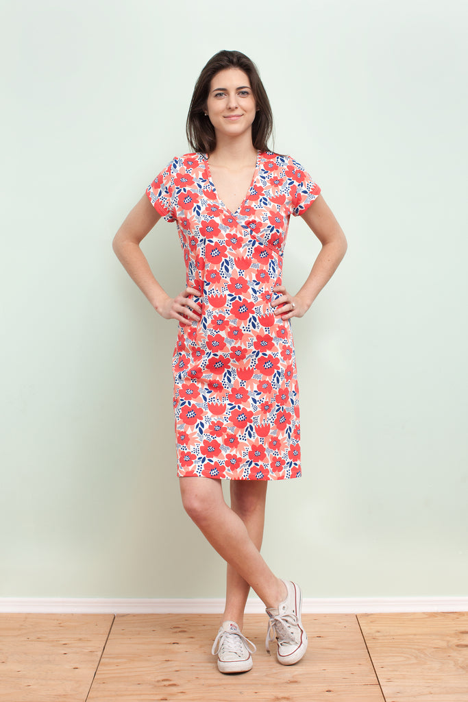 Women's Wrap Dress - Flower Garden Coral