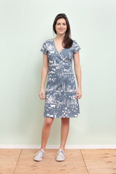 Women's Wrap Dress - The Farm Next Door Slate Blue