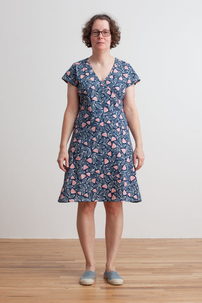 Women's Wrap Dress - Holland Floral Midnight Blue & Dusty Pink