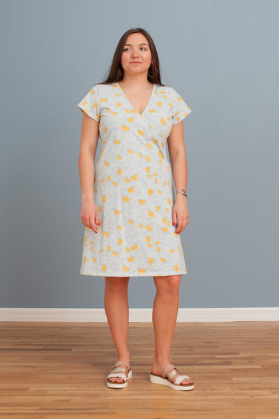 Women's Wrap Dress - Holland Floral Blue & Yellow