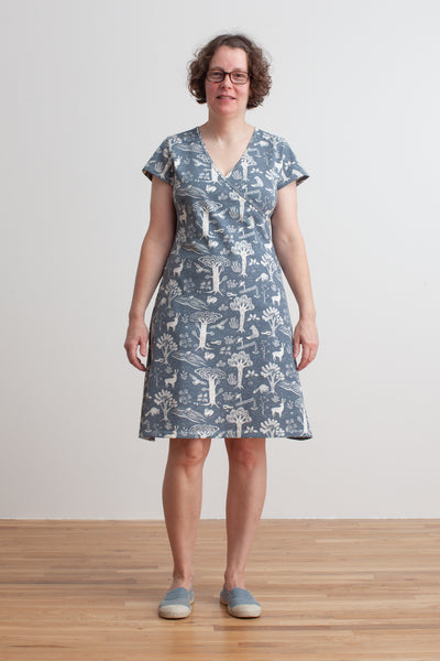 Women's Wrap Dress - In The Forest Slate Blue