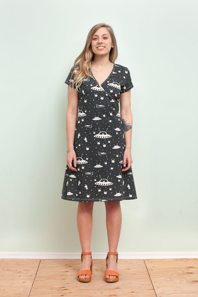 Womens Wrap Dress Outer Space Charcoal Winter Water Factory