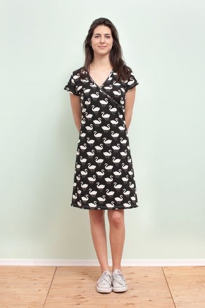 Women's Wrap Dress - Swans Black