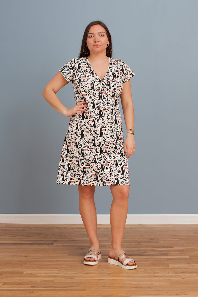 Women's Wrap Dress - Toucans Black