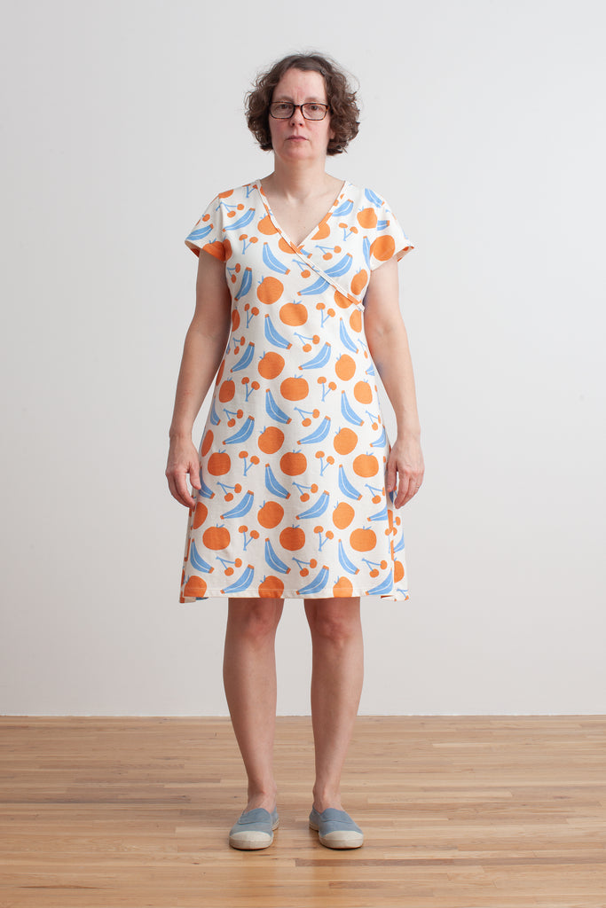 Women's Wrap Dress - Yummy Fruit Blue & Orange