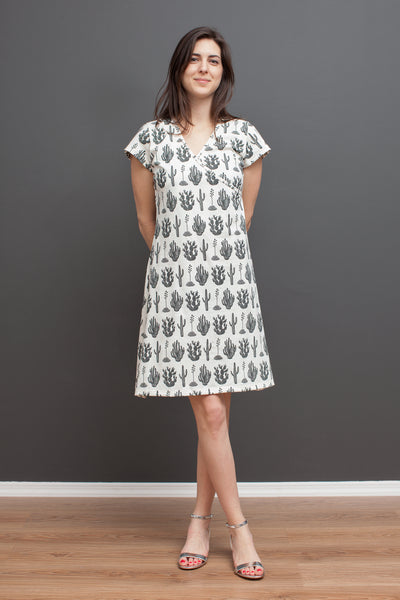 Women's Wrap Dress - Cactus Black