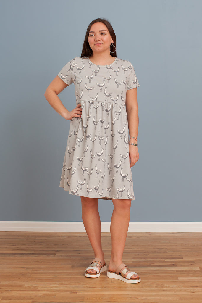 Women's Stockholm Dress - Bird Parade Grey
