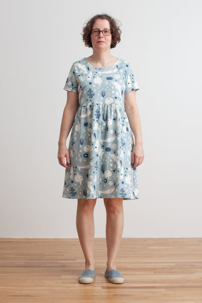 Women's Stockholm Dress - Sea Creatures Pale Blue & Navy