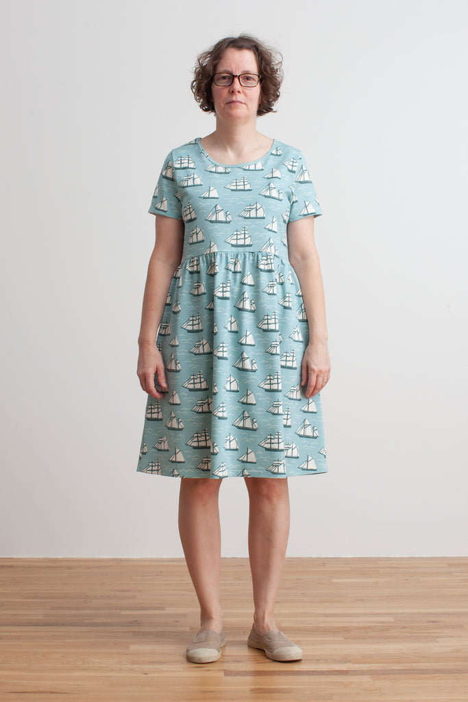 Women's Stockholm Dress - Vintage Sailboats Ocean Blue & Teal