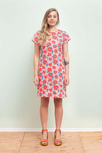 Women's T-Shirt Dress - Flower Garden Coral