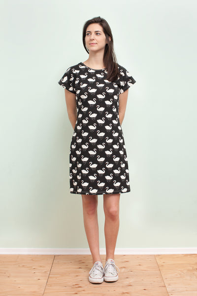 Women's T-Shirt Dress - Swans Black
