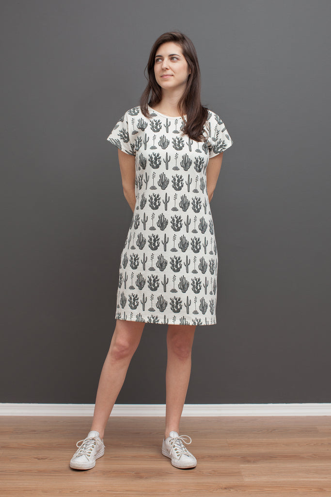 Women's T-Shirt Dress - Cactus Black