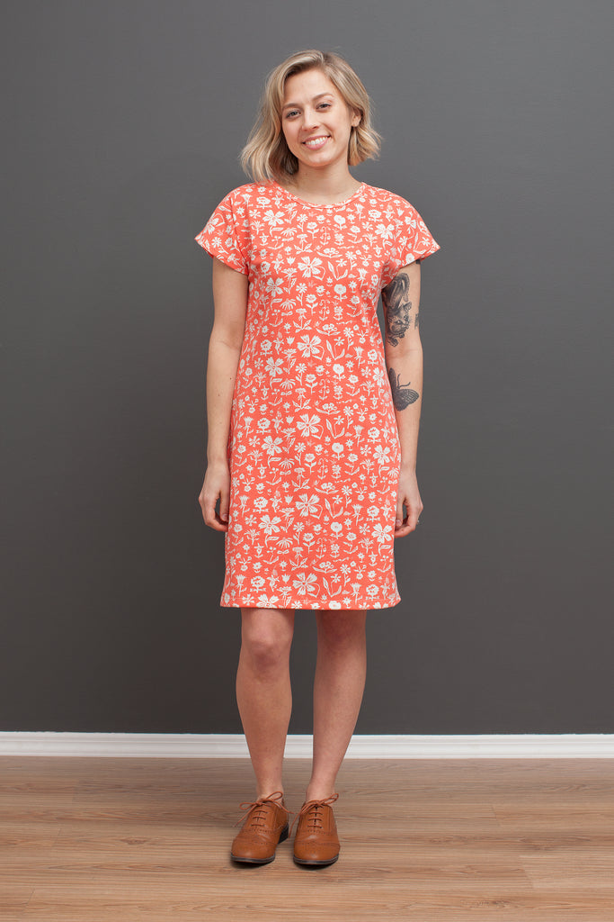 Women's T-Shirt Dress - In The Garden Coral