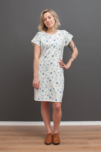 Women's T-Shirt Dress - Particles Blue