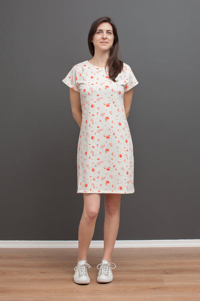Women's T-Shirt Dress - Particles Coral