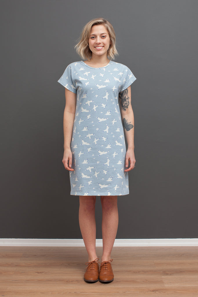 Women's T-Shirt Dress - Skybirds Blue