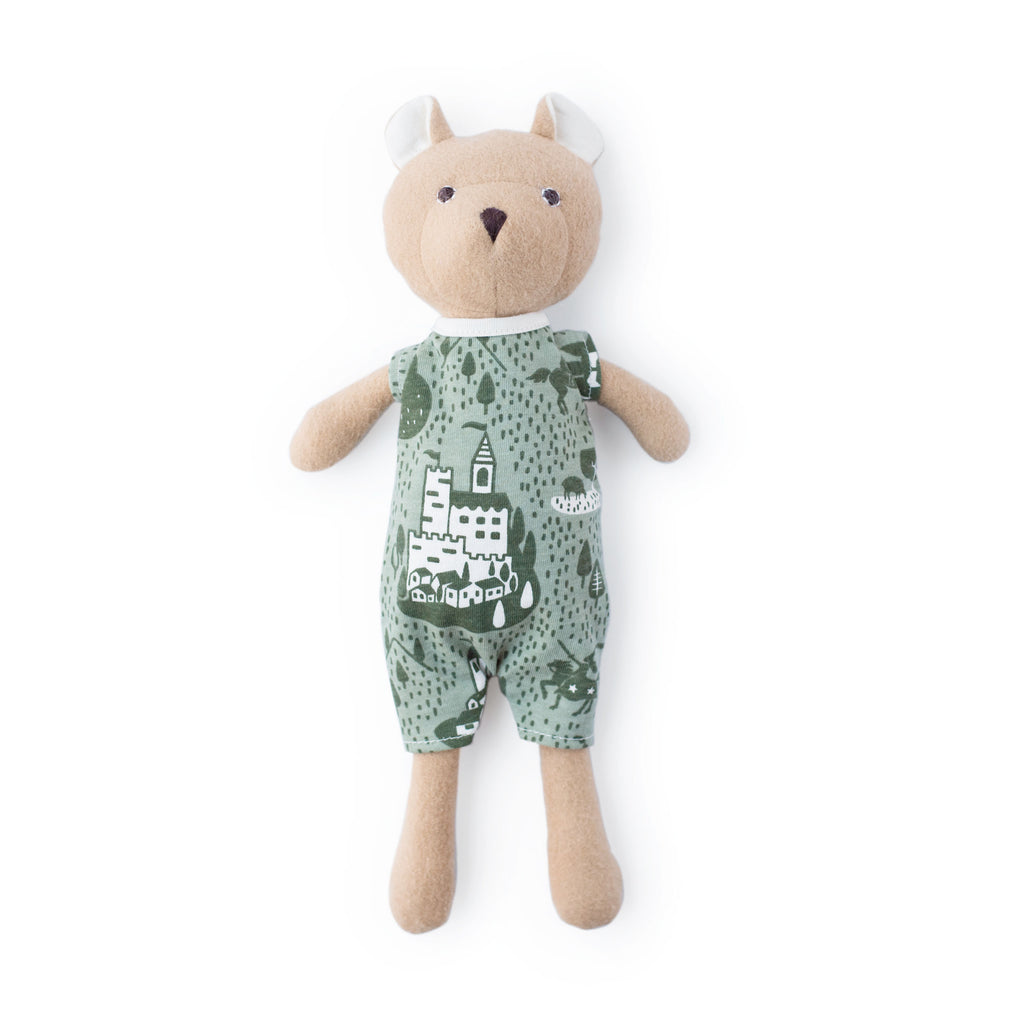 Nicholas Bear Cub - Castles & Villages Sage & Forest Green