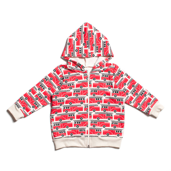 Zipper Hoodie -  Firetrucks Red