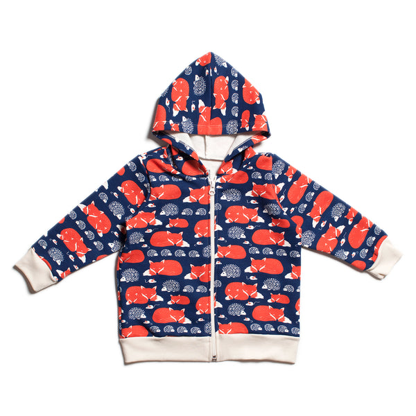 Zipper Hoodie -  Foxes & Hedgehogs Navy & Orange