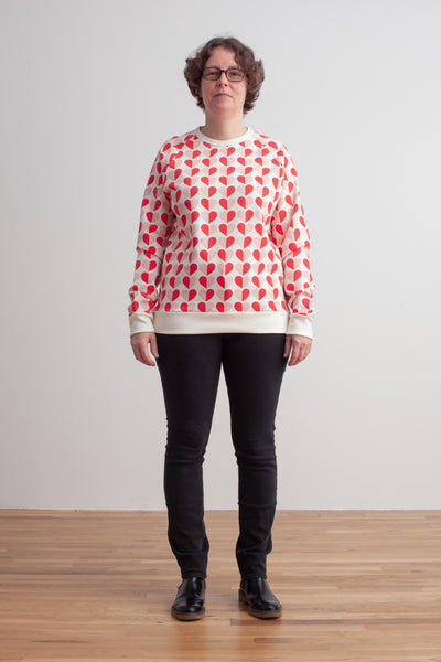 Adult Sweatshirt - Hearts Red & Pink