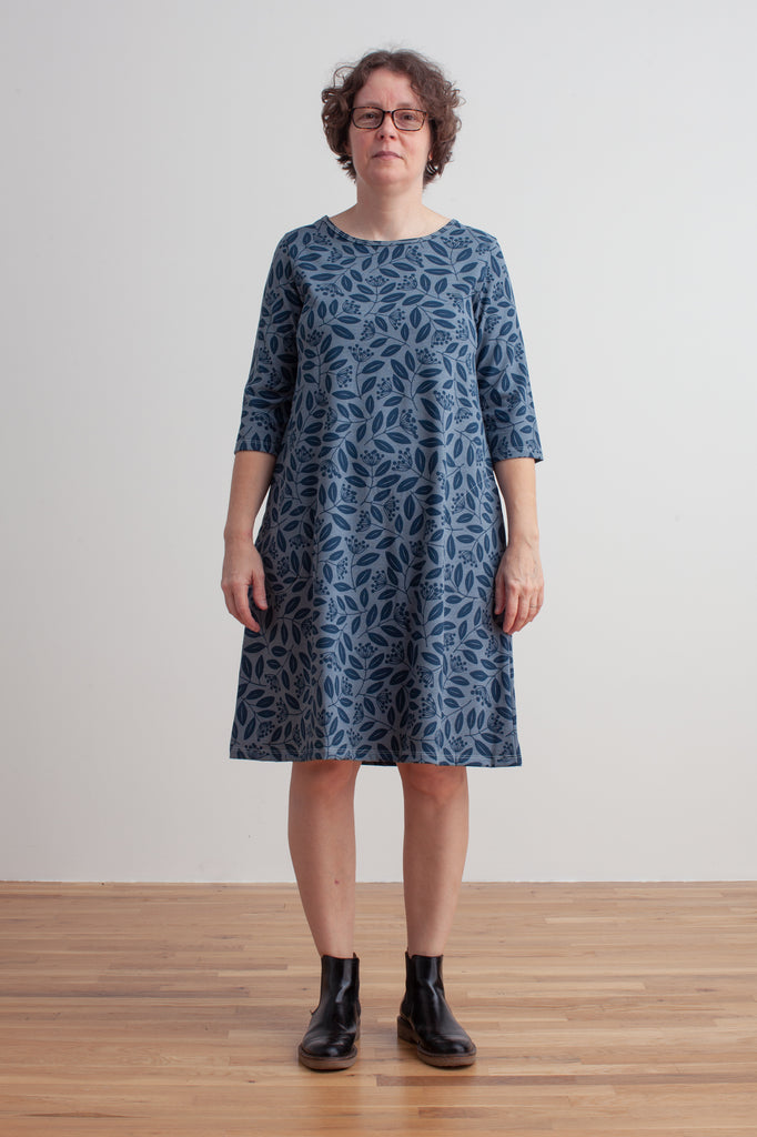 Women's Helsinki Dress - Elderberry Night Sky & Slate Blue