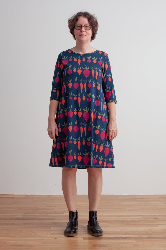 Women's Helsinki Dress - Root Vegetables Night Sky