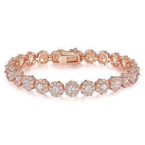 Choose from 7 Colors!  Rose Gold-filled Bracelet Shining AAA Cubic Zircon Crystal  JIB012