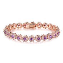 Load image into Gallery viewer, Choose from 7 Colors!  Rose Gold-filled Bracelet Shining AAA Cubic Zircon Crystal  JIB012
