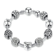 Load image into Gallery viewer, Antique Silver Charm Bracelet with Love and Flower Beads. Choose from 4 Colors 18CM 20CM 21CM PA1455